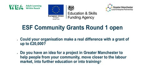 WEA ESF Greater Manchester Community Grants 2019 -2021 Workshop tickets