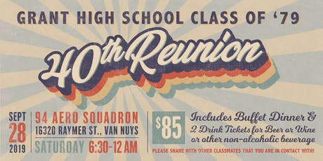 Grant High Class of 1979 40th High School Reunion tickets