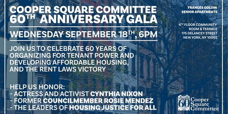 Cooper Square Committee 60th Anniversary Gala! tickets