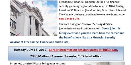 "CICS "" Freedom 55 Financial Hiring Event"" tickets"