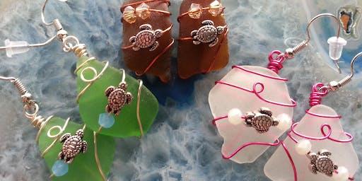 Sea Glass Wire Wrap Earrings with Sea Turtle Charm