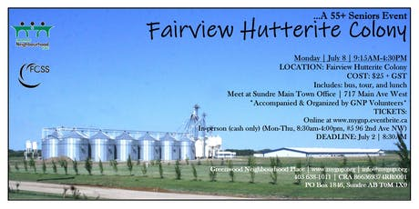 55+ Seniors Event-Fairview Hutterite Colony tickets
