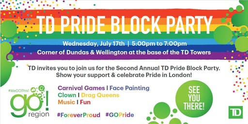 TD Pride Party Wednesday, July 17 ~ 5:00pm - 7:00pm