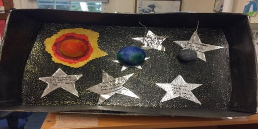 Outer space dioramas and astronaut stories (ages 6-8)