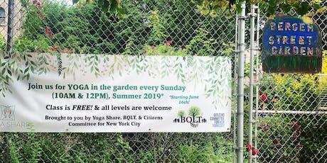 Free yoga at 1100 Block Bergen Community Garden tickets