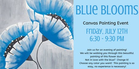 Blue Blooms Canvas Painting Event tickets