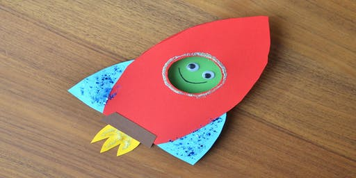Flaming rocket ship with an alien on board (ages 3-5)