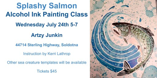 Splashy Salmon Alcohol Ink Painting Class