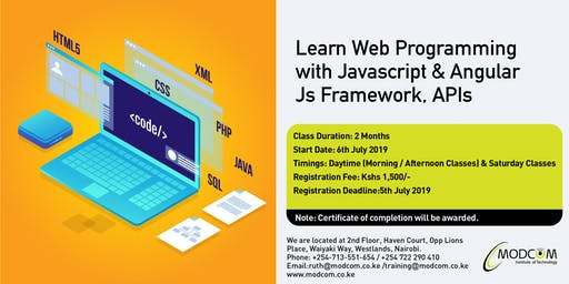 Web Programming with JavaScript & Angular JS Framework, APIs