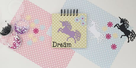 Decorate a Handmade  Unicorn Notebook with Tina from Keepitinaframe tickets