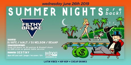 Filthy Broke Wednesday tickets