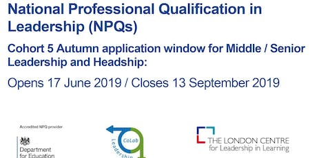 Register Your Interest in the National Professional Qualification in Leadership Cohort tickets