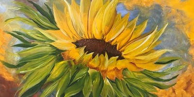 Sunflower one stroke brush painting class
