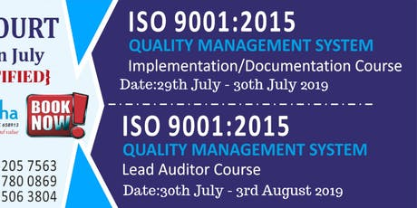 ISO 9001:2015 QUALITY MANAGEMENT SYSTEM (Lead Auditor) Course tickets
