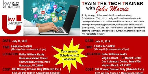 NORTHERN VA: TRAIN THE TECH TRAINER with JOHN MORRIS 2019