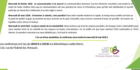 SMQ-BSL :Conférence populaire: La communication à la source!  billets