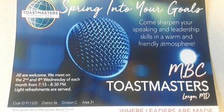 MBC Toastmasters Meeting - 4th Wednesdays tickets