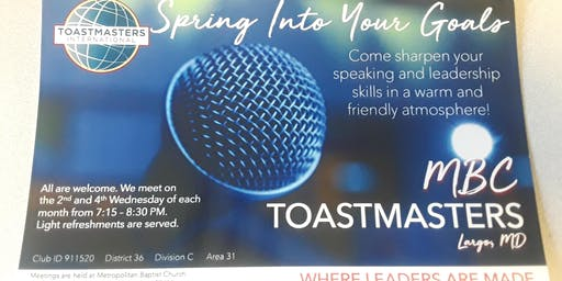 MBC Toastmasters Meeting - 4th Wednesdays