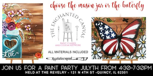 Patriotic Butterfly Painting Class at Revelry Quincy