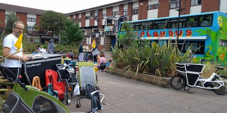 Mobile Library of family cycling kit with Hackney Playbus! tickets