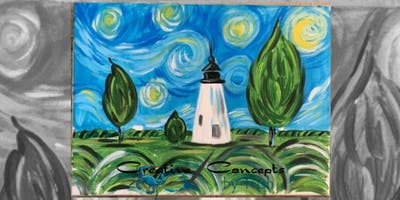 Concord Lighthouse Van Gogh Style Canvas Paint Night