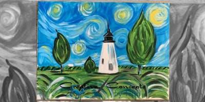 Concord Lighthouse Van Gogh Style Canvas Paint Night