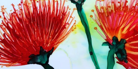 Ohi'a tropical flowers with Alcohol Ink tickets