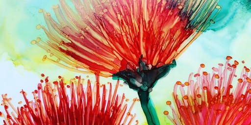 Ohi'a Tropical Flowers with alcohol ink