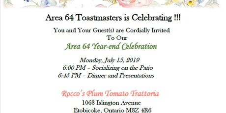 *** Toastmasters District 60 Area 64 Celebratory Dinner Party *** tickets