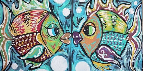 Summer Sunday Mom & Me Funday! Paint Fish Kiss together! Duo Canvas tickets