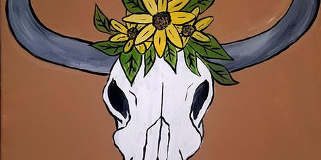 Sunflower Cow Skull, Want to Paint it? You CAN! In Cloverdale  tickets