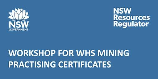 Workshop for WHS Mining Practising Certificates - Gunnedah