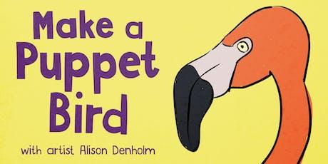 Make a Puppet Bird: family-friendly art workshop tickets