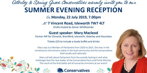 Osterley and Spring Grove Conservatives, Summer Evening Reception