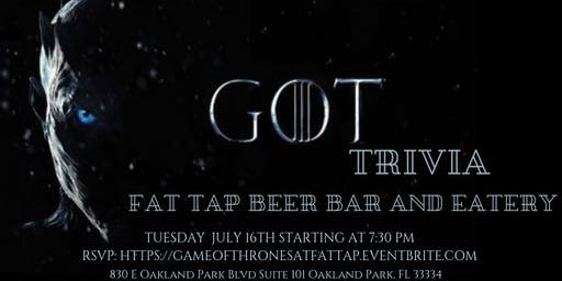 Game of Thrones Trivia at Fat Tap Beer Bar and Eatery