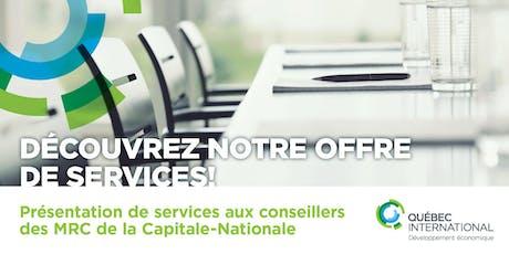 Présentation de services aux conseillers des MRC de la Capitale-Nationale billets