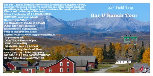 55+ Seniors Field Trip - Bar U Ranch Tour
