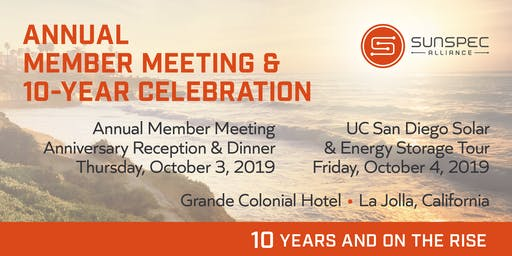 SunSpec 2019 Annual Member Meeting and 10th Anniversary Celebration