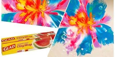 Acrylic Paint Pour - Cling Wrap Flower Workshop