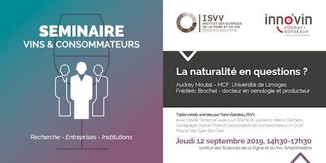 Séminaire vins et consommateurs : la naturalité en questions ? billets