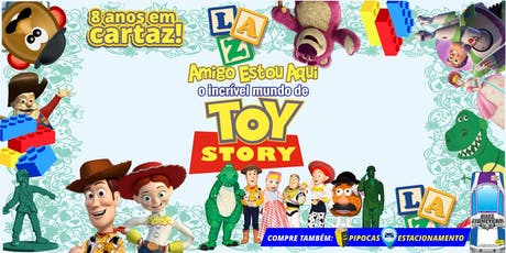 """Desconto! Espetáculo """"Amigo Estou Aqui, Incrível Mundo de Toy Story"""" no Teatro BTC ingressos"""