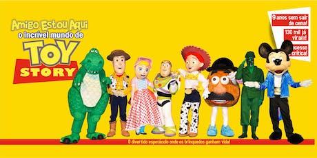 """Desconto! Espetáculo """"Amigo Estou Aqui, Incrível Mundo de Toy Story"""" no Teatro Corinthians ingressos"""