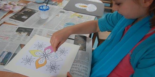 Rice art (Rangoli) workshop for children