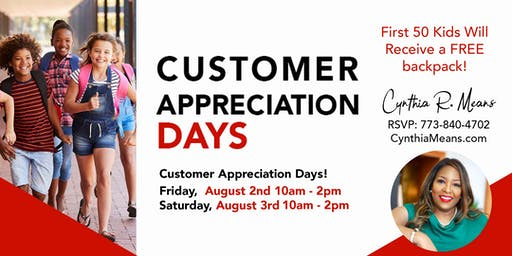 2019 Customer Appreciation Days Friday, August 2nd - Saturday, August 3rd