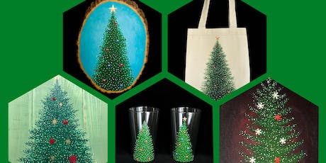 """Adult Open Paint (18yrs+) """"Pick Your Own Christmas Tree"""" Canvas, Wood, Tote, Glasses tickets"""