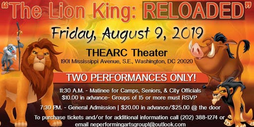 """The Northeast Performing Arts Group presents """"The Lion King: RELOADED"""""""