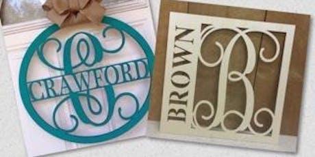 Monogram Door Hangers with Last Name tickets