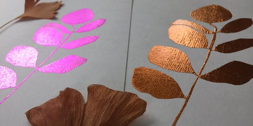 Foil printing with Botanicals & Stencils