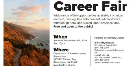 Department of State Hospitals-Atascadero Career Fair tickets