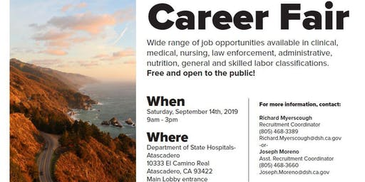 Department of State Hospitals-Atascadero Career Fair